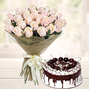white-roses-with-vanila-cake-combos-Indore