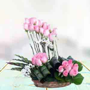 Pink Rose Basket: Flowers Indore-city, Indore