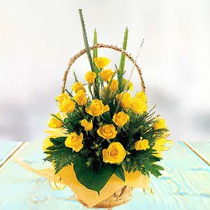 Yellow Rose Basket: Gift New Palasia,  Indore