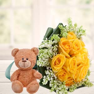 Yellow Roses And Teddy: Gift Link Road,  Indore