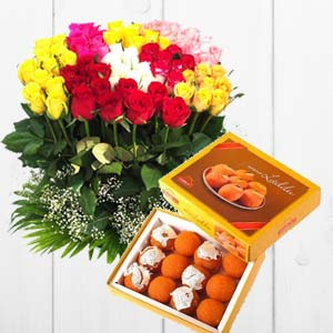 Mixed Mithai And Roses: Gifts Collectorate,  Indore