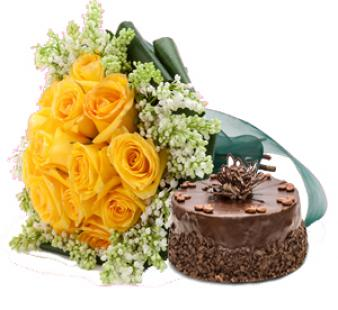 Yellow Roses And Cake: Gifts Sadar Bazar,  Indore