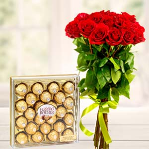 Ferrero Rocher Combo: Mothers day flowers chocolates  Indore