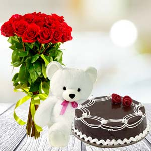 Roses Teddy Combo: Rose Day Kumar Khadi,  Indore