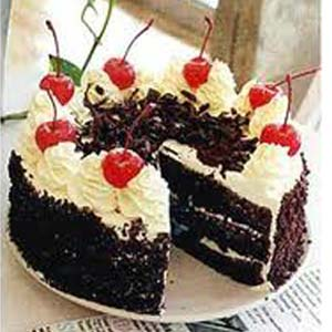 1 lb Black Forest Cake Cakes 24 Red Roses & Teddy, Indore
