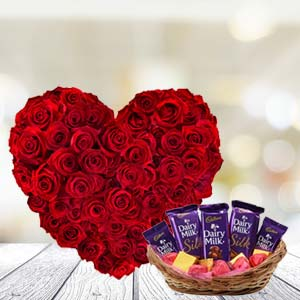 Heart shaped roses with chocolates: Valentines day New-palasia, Indore