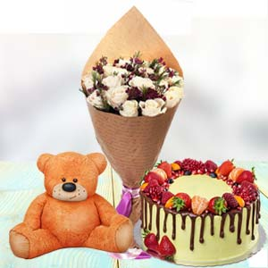 Roses Cake And Teddy: Gift Pardesipura,  Indore