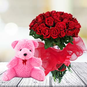 24 Red Roses & Teddy: Valentine's Day Flowers Biyabani,  Indore