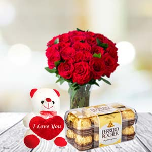 Rose Bunch, Chocolate & Soft Toy: Gift Javeri Bagh,  Indore
