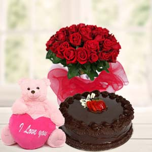 Teddy, Red Roses & Cake: Rose Day Sudamanagar,  Indore