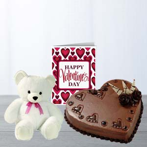 Heart Cake, Teddy & Card: Gift Kumar Khadi,  Indore