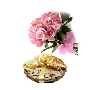 Pink Rose With Dryfruits: Gifts Topkhana,  Indore