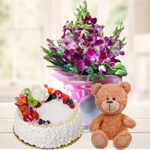 Teddy Bear, Flowers And Cake: Gift Vallabhnagar,  Indore