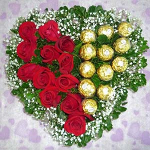 Heart Shaped Ferrero Rocher Arrangement: Diwali  Indore