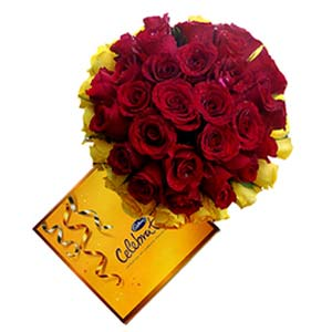 Cadbury And Mixed Roses: Valentine's Day Flowers Indore Cantt,  Indore
