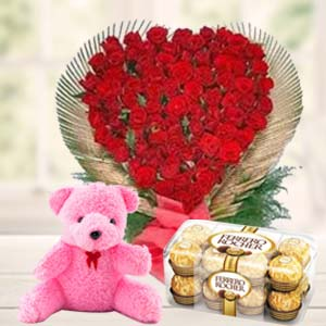 Valentine Flower & Teddy Combo: Rose Day Raj Mohalla,  Indore