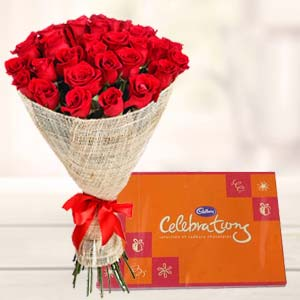 Red Roses Bouquet With Cadbury Celebrations: Gift Manorama Ganj,  Indore