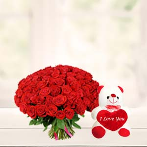 Roses With Teddy Bear Combo: Valentine's Day Indore Cantt,  Indore