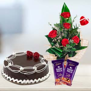 Cadbury Temptations Combo With Flowers: Gift Malwa Mills,  Indore