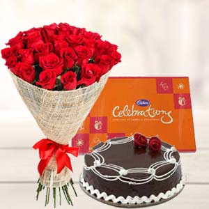 Roses Combo With Cake : Gift Sringar Colony,  Indore