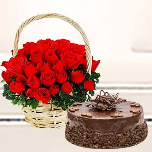 Basket Of Roses With Cake: Valentine's Day Biyabani,  Indore