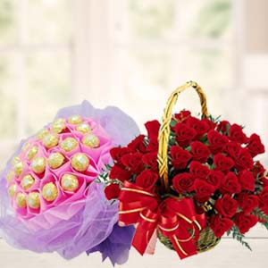 Chocolate Combo With Red Roses: Gift Biyavani,  Indore