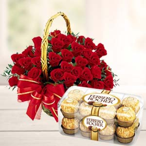 Chocolate Combo With 20 Roses: Anniversary-flowers-&-chocolates  Indore
