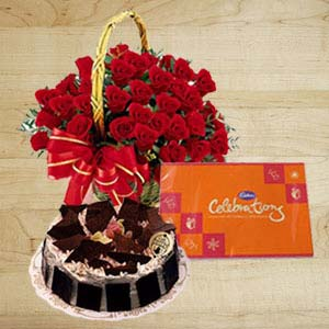 Roses With Cakes And Cadbury: Anniversary-flowers-&-cake  Indore