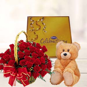 Roses With Teddy And Cadbury: Gift Industrial Area,  Indore