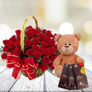 Roses With Teddy And Temptations: Gift Lokmanyanagar,  Indore