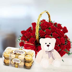 Red Roses Valentine Combo: Teddy Day Biyabani,  Indore