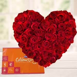 Heart Shaped Arrangement With Cadbury: Valentine's Day Flowers Cloth Market,  Indore