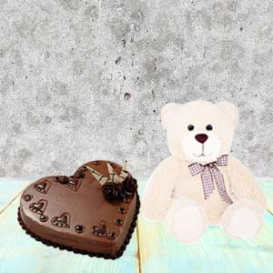 Heart Shaped Cake Combo With Teddy: Karwa Chauth Gifts Agrawal Nagar,  Indore