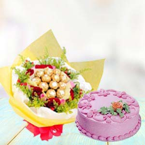 Ferrero Rocher Bunch With Cake: Valentine's Day Gifts For Boyfriend Cloth Market,  Indore