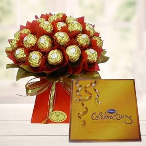 Ferrero Rocher Bouquet With Cadbury: Valentine's Day Chocolates  Indore