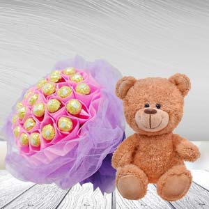 Ferrero Rocher Bunch With Teddy Bear: Gift Cloth Market,  Indore