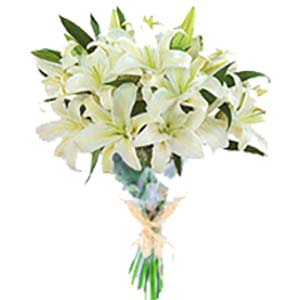 White Lilies Bunch: Gift Collectorate,  Indore