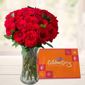 Roses In Glass Vase With Cadbury: Gift Vallabhnagar,  Indore