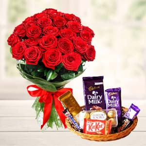 Chocolate Basket With Roses: Valentine Gifts For Husband Lokmanyanagar,  Indore