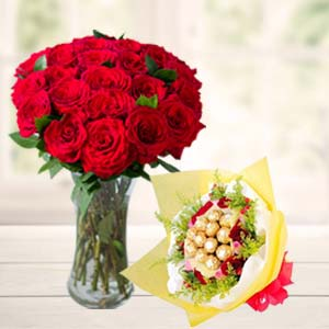 Roses In Vase With Ferrero Rocher: Gifts For Brother Raj Mohalla,  Indore