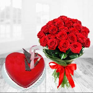 Red Heart Shaped Cake Combo: Gifts For Him Malharganj,  Indore