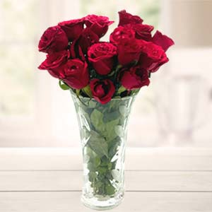 Red Roses In Vase: Rose Day Industrial Area,  Indore