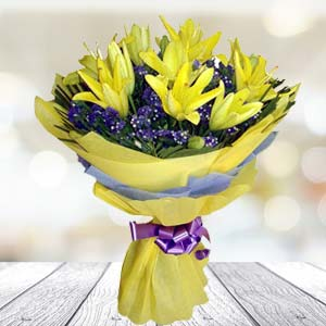 Yellow Lilly Bunch: Gift Burankhedi,  Indore