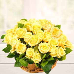 Basket Of Yellow Roses : Gifts Army Head Quarter,  Indore