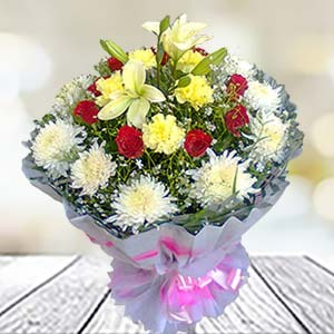 Mix Flowers Bunch: Gift Pardesipura,  Indore