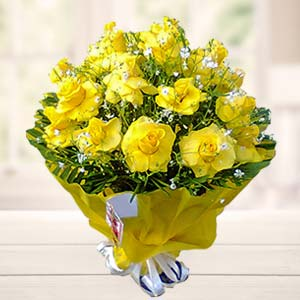 Bouquet Of Yellow Roses: Gift Govt College,  Indore