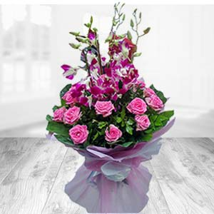Bunch Of Pink Roses With Orchids: Gift Bijasan Road,  Indore
