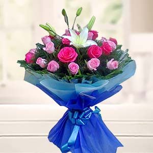 Bouquet Of Mix Roses With Lilliies: Gift Cloth Market,  Indore