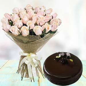 White Roses With Dark Chocolate Cake: Gifts Radio Colony,  Indore