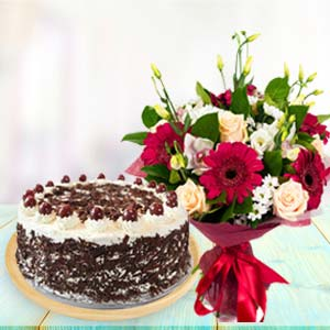 Mix Flowers With Black Forest Cake: Gifts For Him Javeri Bagh,  Indore